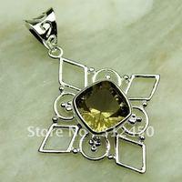 Fahion plata joyería de piedras preciosas de cuarzo ahumado colgante joyas envío gratis LP0672 (China (continental))