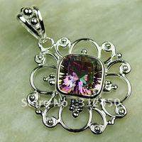 Fahion plata joyería de piedras preciosas Topacio místico colgante de joyería de envío gratis a LP0598 (China (continental))