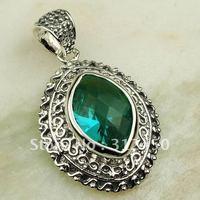Plata Fahion joyería verde amethys prasiolite piedra colgante de joyería 5PCS suppry envío gratis LP0405 (China (continental))
