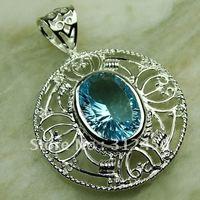 Fahion plata joyería de piedras preciosas topacio azul cielo colgante 5PCS joyas suppry envío gratis LP0668 (China (continental))