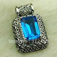 Wholeasle plata joyería de piedras preciosas topacio azul suizo colgante envío gratis LP0587 joyas (China (continental))