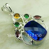 Wholeasle joyería de plata suizo topacio azul piedra preciosa joyería colgante libre LP0579 de envío (China (continental))