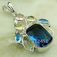 Wholeasle joyería de plata océano azul topacio de piedras preciosas joyas colgantes libre LP0582 de envío (China (continental))