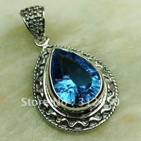 Wholeasle joyería de plata océano azul topacio de piedras preciosas joyas colgantes libre LP0592 de envío (China (continental))