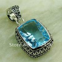 Wholeasle joyería de plata cielo azul topacio colgante de piedras preciosas joyas de envío gratis a LP0597 (China (continental))