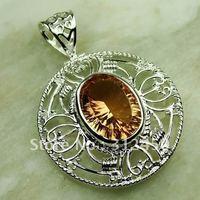 Suppry 5PCS moda de joyería de plata colgante de piedras preciosas joyas morganita envío gratis LP0599 (China (continental))