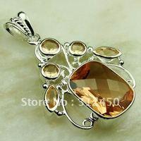 Suppry 5PCS moda de joyería de plata colgante de piedras preciosas morganita envío gratis LP0578 joyas (China (continental))