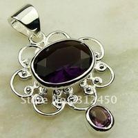 Fahion Wholeasle joyería de plata colgante de piedra preciosa amatista envío gratis LP0552 (China (continental))