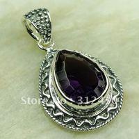 Fahion Wholeasle joyería de plata colgante de piedra preciosa amatista envío gratis LP0590 (China (continental))