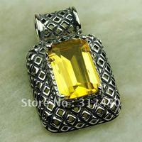 Ventas fahion calientes de joyería de plata colgante de piedras preciosas citrino envío gratis LP0588 (China (continental))