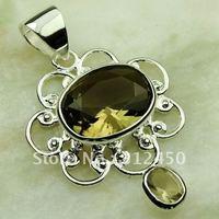 Ventas fahion calientes de joyería de plata colgante de piedras preciosas de cuarzo ahumado envío gratis LP0565 (China (continental))