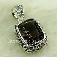 Ventas fahion calientes de joyería de plata colgante de piedras preciosas de cuarzo ahumado envío gratis LP0585 (China (continental))