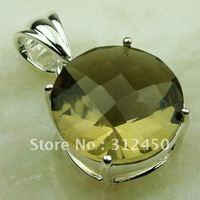 Caliente fahion ventas de joyería de plata colgante de piedras preciosas de cuarzo ahumado libre LP0560 de envío (China (continental))