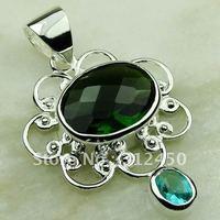 Fahion plata joyería de piedras preciosas Peridot natrual colgante envío gratis LP0558 (China (continental))