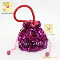 Free shipping New Arrival handmade rose with lace rhinestone satin ladies' Evening party bag wedding bag bridal bag handbag red