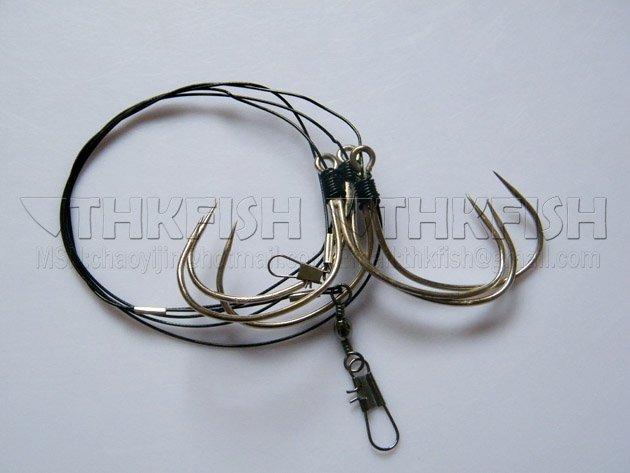 Free shipping sharp fishhook with 5 small hooks for Shark fishing hooks