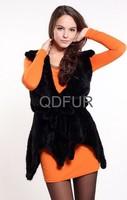 Genuine Sheep Leather Coat with Mink Fur Trim winter long dress garment women's coat Free shipping QD11912 A G