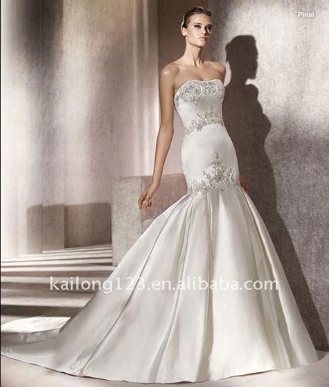 Grace mermaid strapless fishtail beaded applique satin bridal gown