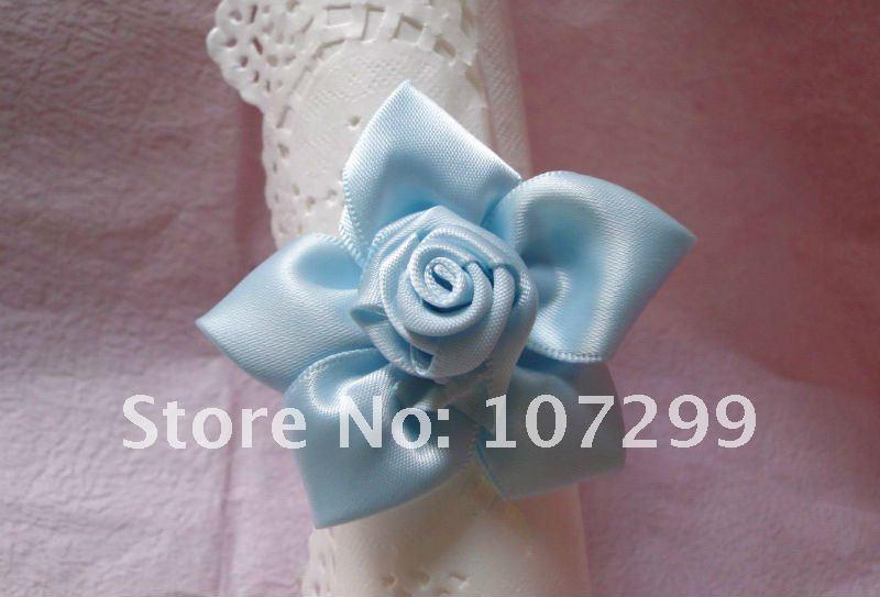FREE SHIPPING 20pcs Light Blue ROSE Flower Napkin Rings Wedding Bridal