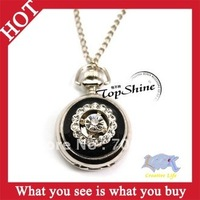 Free Shipping! 1pcs Vintage Crown Flower Necklace Size Medium Quartz Watch Analog Pocket Watch With Chain -- WPM19 Wholesale