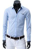Мужская повседневная рубашка men's shirts long sleeve fashion shirts slim solid color dress shirts 5colors retail & M/L/XL/XXL C32