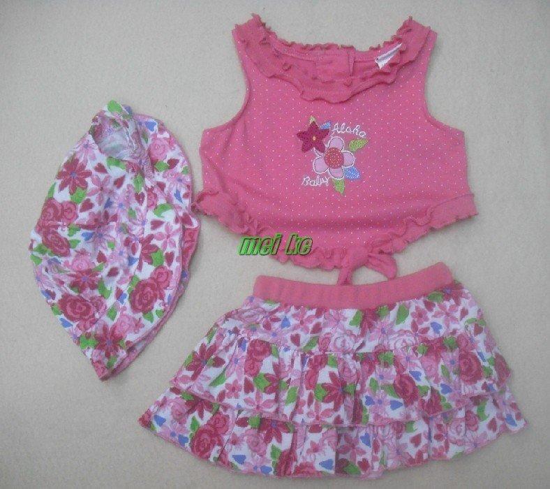 new design Girls 3pcs sets Vineyatd rose flowers 3pcs set(hat+top+dress),baby clothes,baby wear  ...