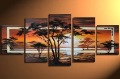 hand-painted Grassland African sunrise High Q. Home Decoration Modern Landscape Oil Painting on canvas 5pcs/set framed