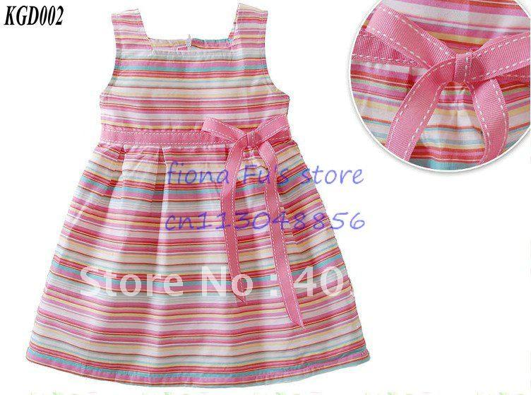 Girls stripe bowknot cotton dress kids baby clothing kids children dresses ...