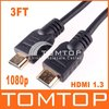 Premium 3FT 1.3 Gold HDMI Cable For PS3 HDTV 1080p, Free Shippng+ Drop Shipping