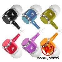 Наушники Wallytech Metal Earphone For ipod Touch mp3 earphone +8 colors + box packing