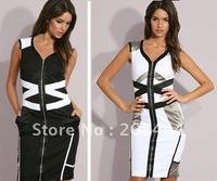 Женское платье 1pc Sleeveless Cotton Striped Colorblock, OL dress. Commute Career Sexy Dresses IR168