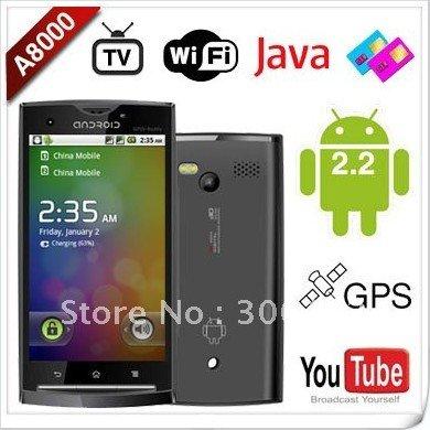 cheap android phone A8000 3 6inch touch screen AGPS WIFI TV facebook skype free shipping Điện thoại cảm ứng giá rẻ dội bom người dùng Việt.