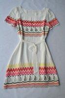 Free shipping printed  Color wave pattern elegant silk dress 110929BD04