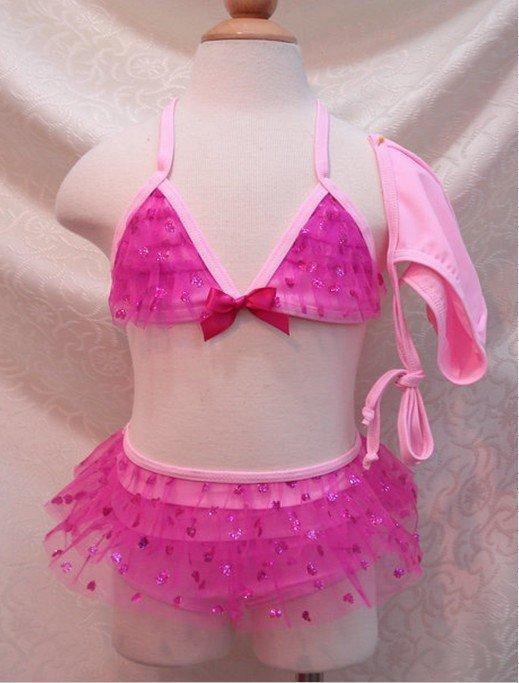 Newest lovely girls swimwear, baby swimwear,children beachwear with cap 5sets/lot