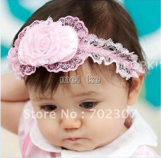 Rose flower lace headwear/headband girls Headdress baby hairpin/Super cute rose bow hair band /F ...