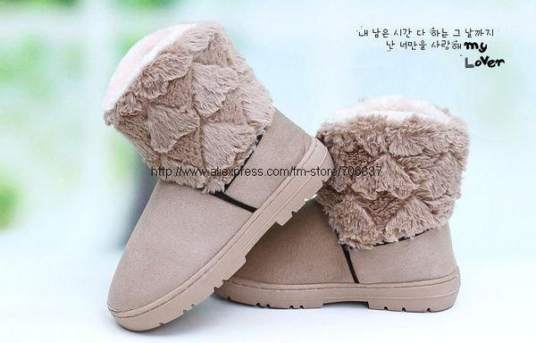 Fashion Faux Fur Lady 39s Snow Boots Winter Boots Khaki ChestnutSH002