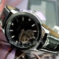 Free Shipping Men's Korean Automatic Leather Strap Hollowing Dial Mechanical Wrist Watch