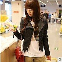 Розничная торговля кожаная куртка женщин, Женская куртка, куртка мотоцикла, розовый & черный /jk-049