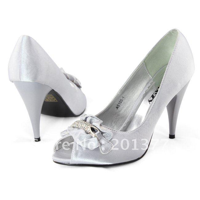 SHOEZY wholesale retail silver peep toe Ladies Satin Diamante Heel Shoes