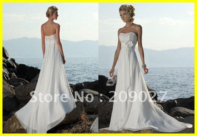 2012 Strapless Flower Beading Chiffon Floor Length Beach Wedding Dresses