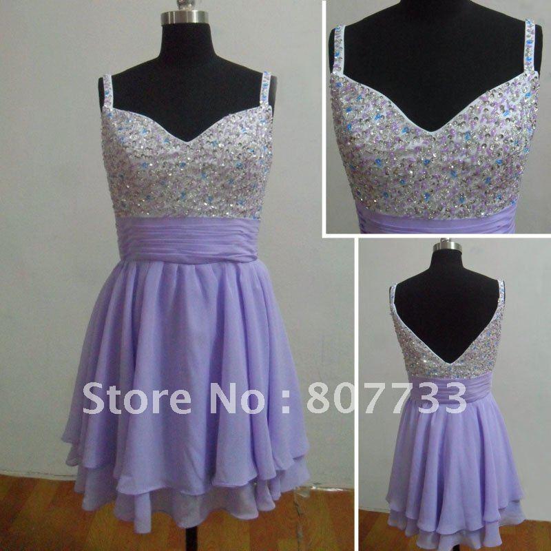 RE053 spaghetti strap short purple chiffon plus size sexy party dress