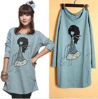Women Cartoon Loose Long T-shirt Top Black Hair Lady White Mini Dress Longshirt Gift Free Ship