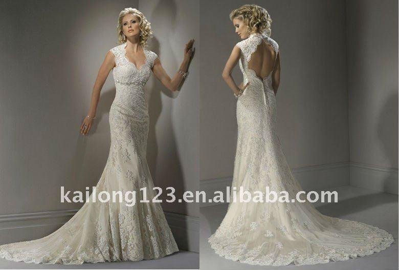 Stylish Sheath Cap Sleeves Vneck Backless Beading Lace Wedding Gown
