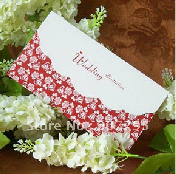 Classic Elegant Romantic wedding invitation cardwedding card red flower