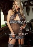 Free shipping  sexy teddy lingerie one piece teddy open bust  lace nightwear clubwear black K6007