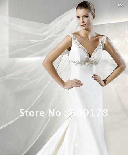 2011New style Vneck Sleevless Mermaid Beading Satin Ivory Wedding dress