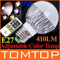 Светодиодная лампа AC100-240V 4W 250LM E27 LED Bulb Lamp 120 levels Color Temperature changeable LED Lamp Light with Remote Control