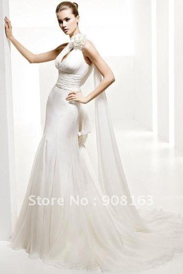 Whole Sale WD177 Sheath Oneshoulder Lace Elegant White Chiffon Fashion