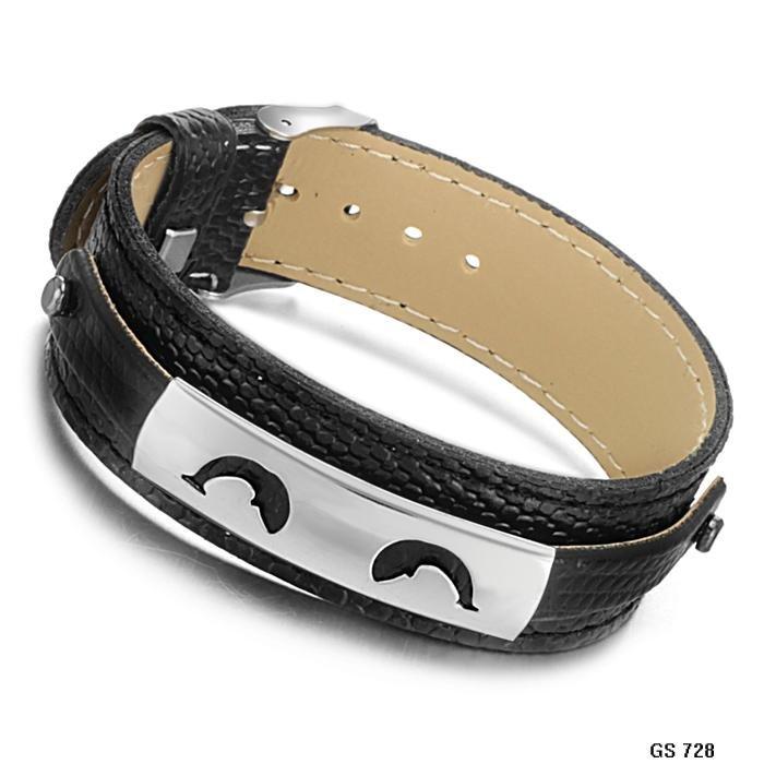 Кожаный браслет с металлической вставкой своими руками 37