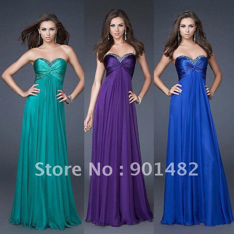 2011 Hot Selling Long Chiffon Evening Dress Purple Blue Green In Stock Wedding